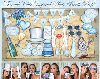 """Elegant wedding Photo Booth Props """"French Chic"""" in blue and lace perfect for your unforgettable day and the wedding of your dreams"""