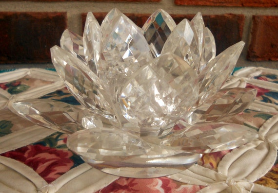 Vintage Shannon Crystal Lotus Candle Holder Hand Made