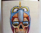 Flask - Hunter S Thompsons Skull wearing a Gonzo Hat