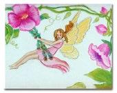 Fairies Nursery Decor, Art Print Fairy, Nursery Wall Art, Baby Girl Nursery, Fairies Baby room, Girls room Decor, Fairies Art - handpainting