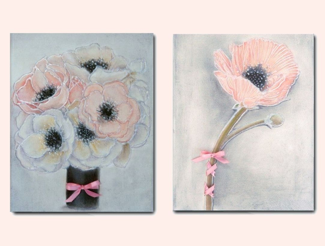 Shabby chic nursery pink flowers wall art floral by for Shabby chic wall art