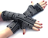 Black and White Tribal  Fingerless Gloves -Super Soft  Arm Warmers , Gloves , Hand Warmers , Cuffs , abstract pattern