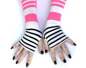 Sale - Black and Pink Stripes  Fingerless gloves from Soft Silky Fabric  Yoga  Belly Dance Fusion Light Goth Cycling
