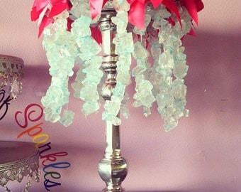 Rock Candy Chandelier Lamp Centerpiece, Candy Buffet Decor, Candy Arrangement Wedding, Mitzvah, Quince, Sweet 16
