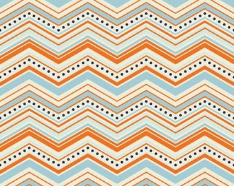 Chevron in Orange: One For The Boys By Zoe Pearn for Riley Blake 1/2 Yard Cut