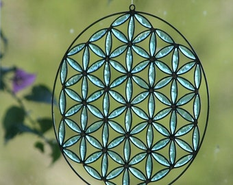 Flower of life Vishuddha suncatcher sacred geometry Mandala Yoga