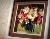 "Glass Bowl, clay flowers, 3D oil painting, unique, 9""x9"""