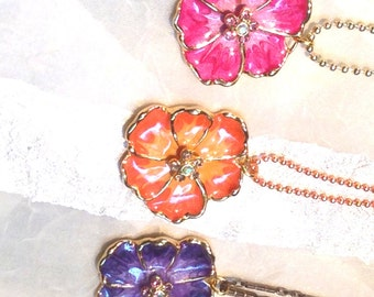 Upcycled Vintage Necklaces With Vintage Swarovski Flower Creations in Pink Orange and Purple