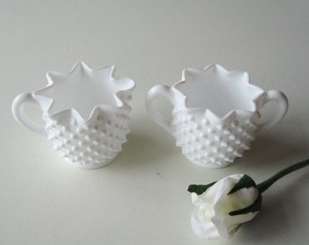Milk Glass Cream and Sugar, Hobnail, Fenton, Coffee Bar, Tea Time