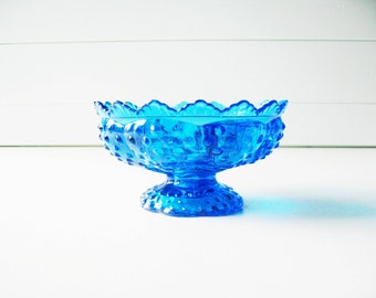 Blue Hobnail Candle Holder, Wedding Tablesetting, Unique Fenton Glass