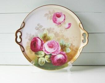 Limoges Roses Platter, Large, Signed Limoges Tray, Gold Gilting