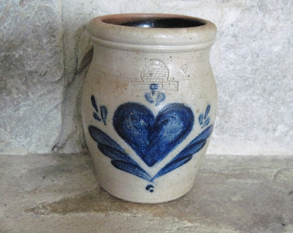 Rowe Salt Glazed Pottery Crock Cobalt Heart And By