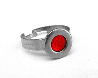 Red Stainless Steel Ring for Her, Silver Adjustable Round, Modern Ring, Customizable Color