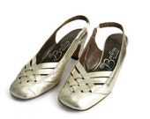1960s Shoes Gold Slingback Heel Woven Vamp Metallic Vintage Sandals