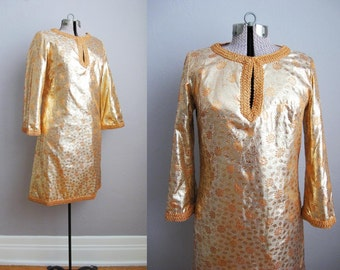 1960s Vintage Dress Gold Lame Brocade 60s Cocktail Dress Bell Sleeves / Medium