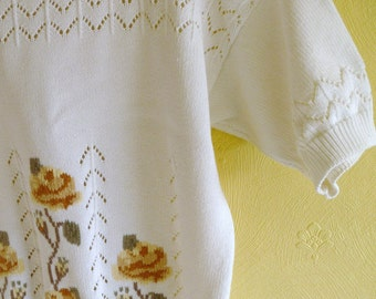 Vintage Cream 80s Cotton Top Round Neck Slouchy