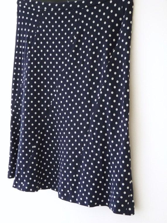 vintage jaeger flirty blue polka dot skirt uk size by