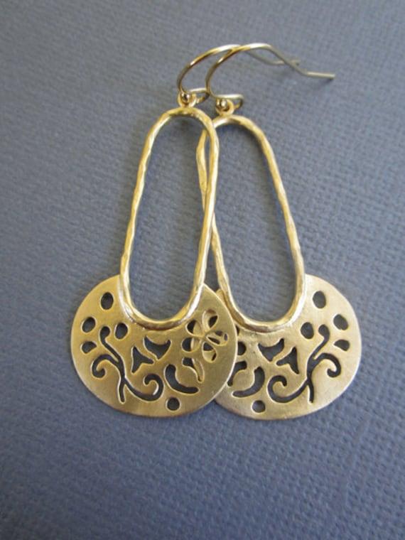 Long earrings, gold earrings, Dangle Earrings, Gold filigree earrings, Mother's day gift, Sister, Everyday earrings