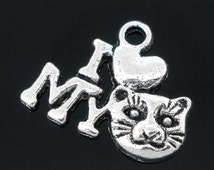 """5 Pieces Antique Silver """"I Love My Cat"""" Charm"""