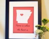 Home is where the heart is 8x10 State wall art Hischool graduation gift Arkansas print South wall art Home sweet home Housewarming present