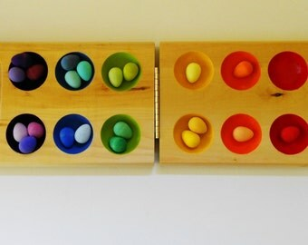 Wooden sorting tray of eggs in a color learning  and counting montessori style toy
