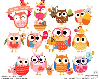 Easter owls Digital clip art for Personal and Commercial use - INSTANT DOWNLOAD