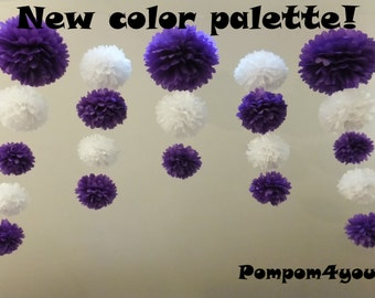 3 x 21 Pom Poms garland and 5 Free Tissue Paper flowers