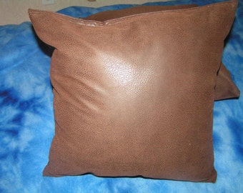 "2 Beautiful Brown Faux Suede Pillow Size 16"" x 16"" Pillows Covers (no inserts) Zipper closure"