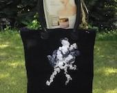 Large nuno felted black shoulder bag with genuine leather handles
