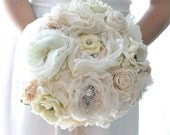 DEPOSITwedding bouquet, oldworld charm of lace, pearls among paper flowers and seafaoam,blush pink, peach fabric flowers