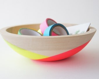 "Neon Pink and Yellow Wooden 7"" Salad Bowl by Wind and Willow Home,  organic bowl, wedding gift, birthday gift, salad bowl"