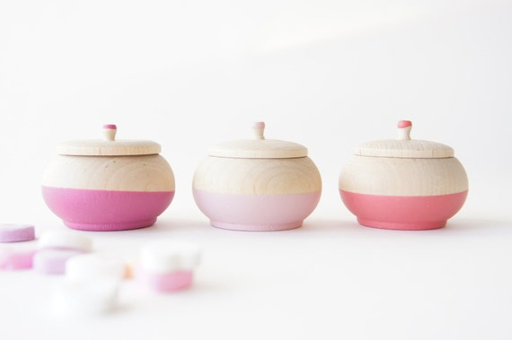 Mini Treasure Pot set of 3:  Wedding Decor, Engagement, Special Jewelry Box, Love, Valentines Day