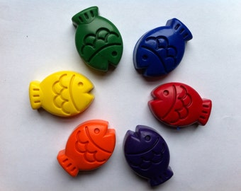 Set of 6 Eco-Friendly Soy/Bees Wax Fish Crayons- Great First Crayon