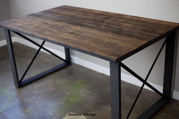 Dining Table/Desk made of vintage reclaimed wood & Steel. Industrial/urban/modern design. Mid century/rustic/distressed. Retail display