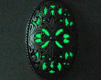 Antique Silver Carved Oval Necklace Glow In The Dark Pendant (glows green)