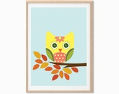 Baby Owl Poster : Modern Animal Illustration Retro Art Wall Decor Print A4 8 x 11