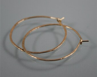 "1 1/2"" 14k Gold Filled  Hammered Texture Hoop Earrings"
