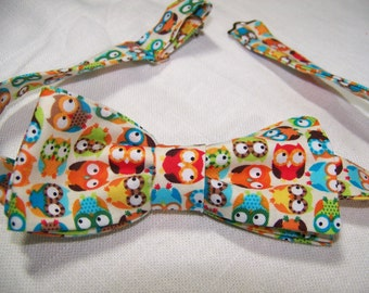 Wise Owl Bow Tie - Cotton Men's Bow Tie -  Adjustable - Fun