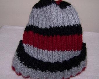 Men's Knit Hat Pattern - Striped Winter Hat  Ski Hat Knit Pattern pdf.Instant download
