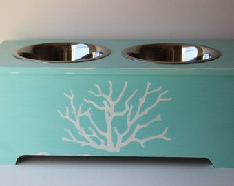 elevated dog feeder, 10 inches tall, 3 quart stainless steel bowls, coastal decor, beach decor, hand painted and sealed
