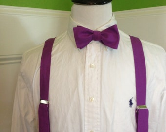 Adult bow tie and suspender set (any shade of purple you want)