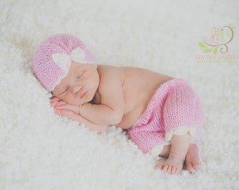 Vintage Newborn Mohair Turban Hat with lace bow and Pants - newborn, pink, ivory