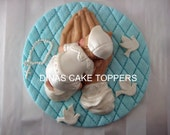 Praying Hands Gods Hands Baby Cake Topper Baptism Christening Doves Rosary BOY