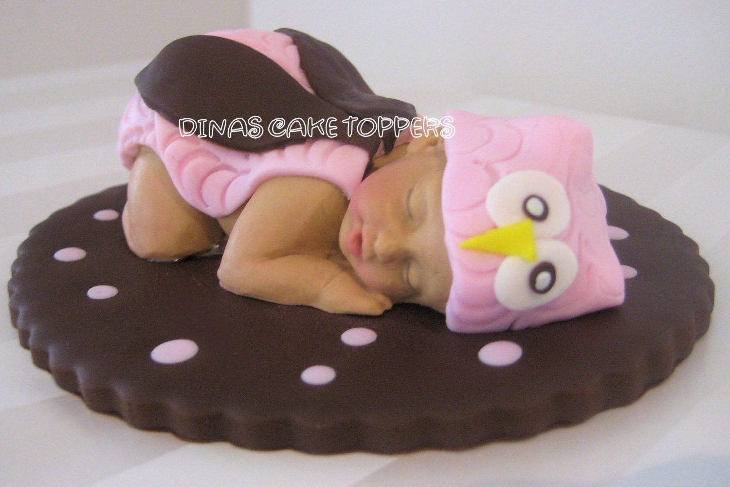 Pink owl baby shower cake topper name day by dinascaketoppers for Baby shower decoration kits girl