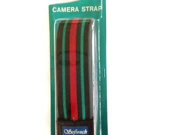 NOS Softouch Camera Strap Striped Pattern Vintage New Old Stock Red Green Black