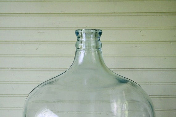 Vintage Blue Green Glass Carboy Demijohn Bottle With Wooden