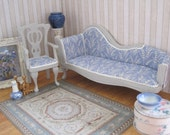 12th Scale Dollhouse Miniature French Shabby Chic Furniture: Sofa / Settee / Couch / Chaise and Chair / Armchair