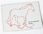 Red embroidered horse illustration, postcard printed on recycled paper