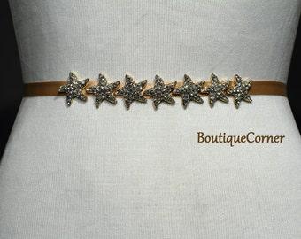 Starfish Bridal Sash -Tan Ribbon Sash - Gold Plated Starfish Rhinestones-Bridal Belt-Wedding Accessory