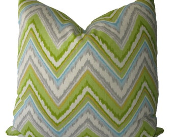 Decorative Designer Ikat Chevron Pillow Cover, Chartreuse, Aqua, Lime Green, Grey, 18x18, 20x20, 22x22 or Lumbar,  Throw Pillow